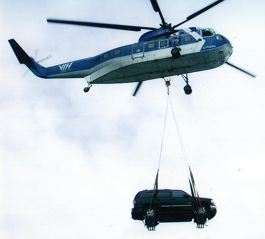 When bringing a vehicle in by helicopter, the car would spin and spin. We learned if you tie a tree to it will behave very nicely.