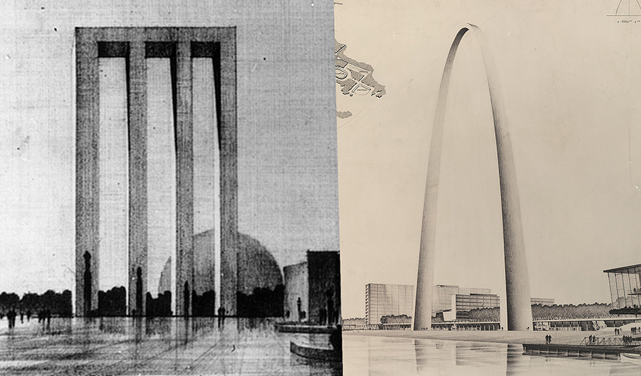 Both father and son entered the St. Louis monument design competition. E. Saarinen was announced the winner. The family celebrated Eliel's win. 3 days later it was awkwardly revealed that the E. Saarinen was Eero not Eliel.