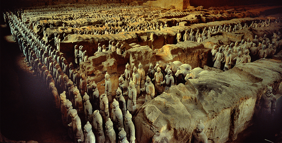 I was the first person to film the 'Terracotta Army' in Emperor Qin's Tomb. There was only a little hole to look through with a flashlight.